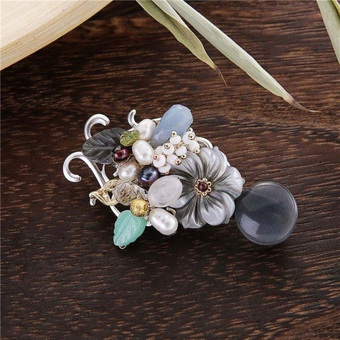 romantic natural stone, pearl & shell flower brooch pin for women