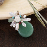trendy natural stone & pearl flower brooch pin for women