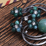 trendy natural stone green beads & crystal flower brooch for women