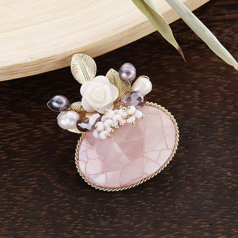 romantic natural shell flower brooch pin for women
