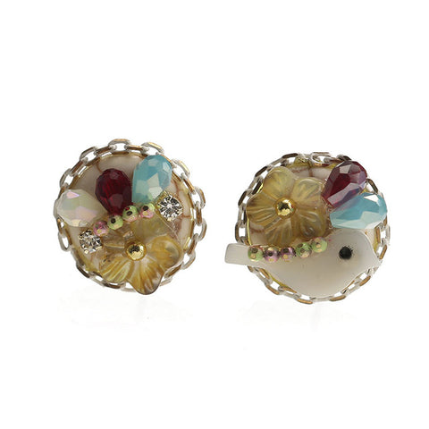 cute small natural shell flower & bird stud earrings for women
