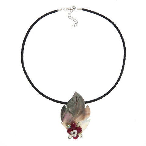 natural shell crystal beads flower pendant necklace for women