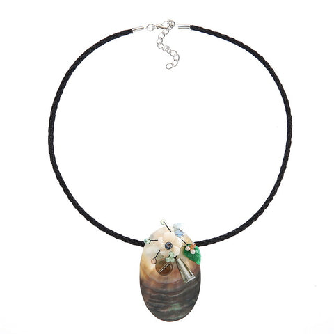 natural shell & crystal beads flower pendant necklace for women