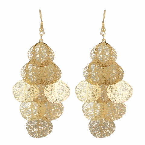 classic gold color leaf  tassel drop earrings for women