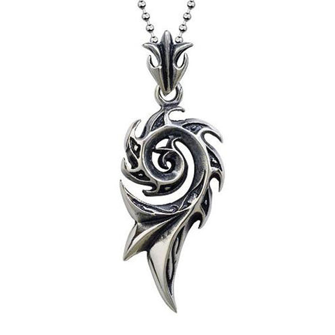 punk stainless steel flame shape pendant necklace for men