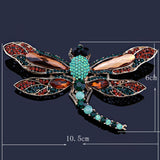 vintage large dragonfly rhinestone crystal brooch pin for women