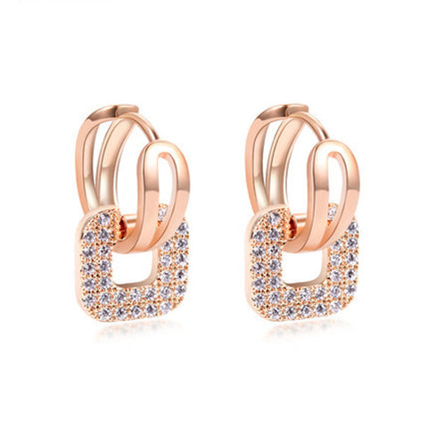 luxury square shape crystal stud earrings for women