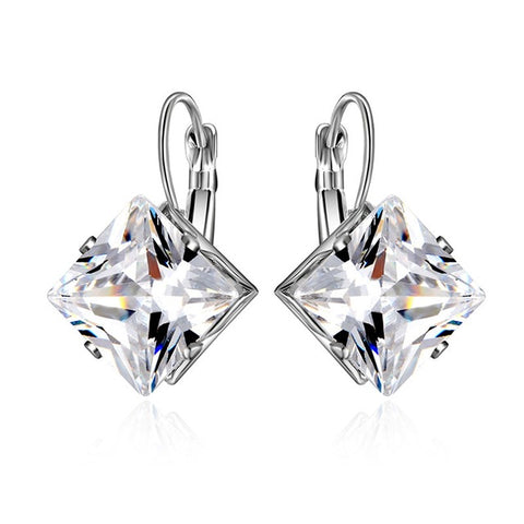 elegant rhombus cubic zircon crystal drop earrings for women