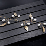 romantic gold color pearl & crystal leaf hair band for women
