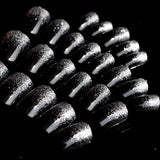 24 pcs trendy black color with glitter false nails for women