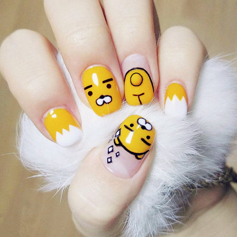 24 pcs cute cartoon pattern false nails for women