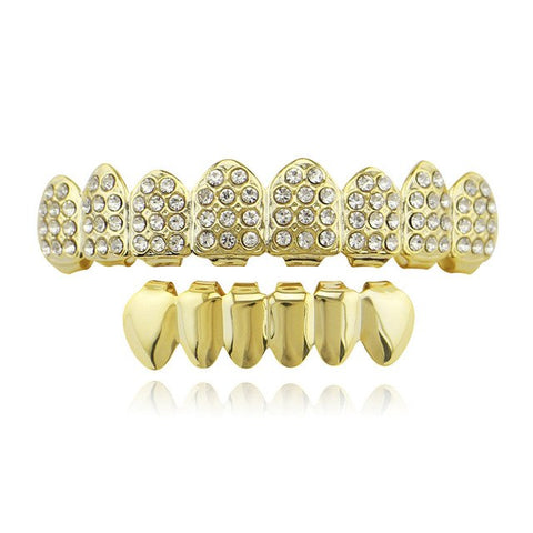 hip hop style full iced out rhinestone top teeth grillz jewelry