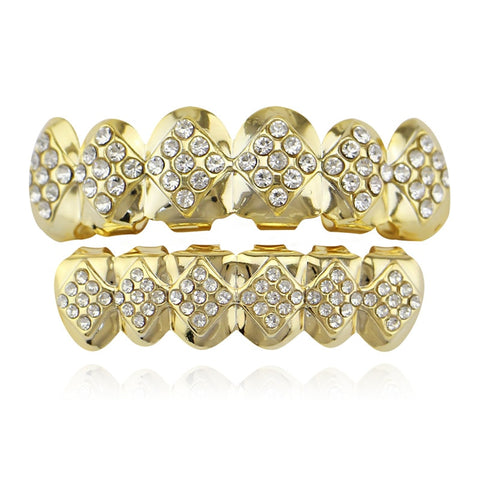 hip hop style square shape iced out rhinestone teeth grillz