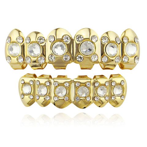 hip hop style iced out big rhinestone teeth grillz jewelry