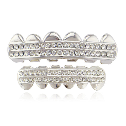 hip hop style 2 row iced out rhinestone teeth grillz jewelry