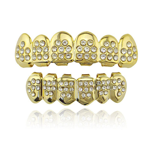hip hop style full iced out rhinestone teeth grillz jewelry