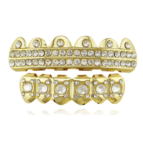 hip hop style 2 row iced out rhinestone top teeth grillz
