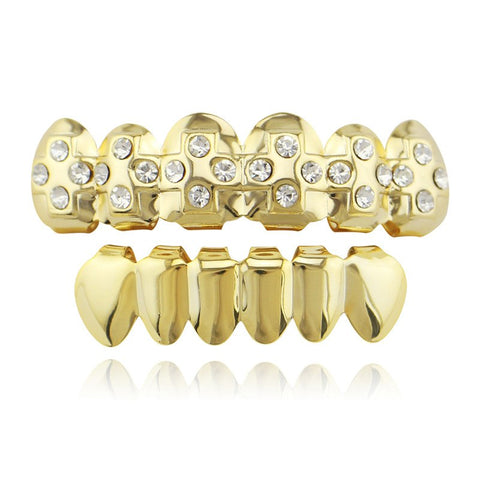 hip hop style iced out rhinestone cross carved teeth grillz