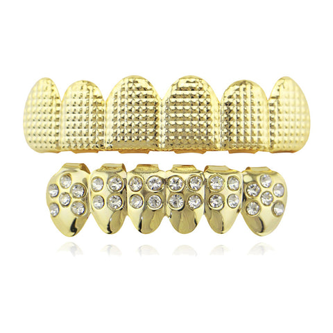hip hop carved top iced out rhinestone bottom teeth grillz
