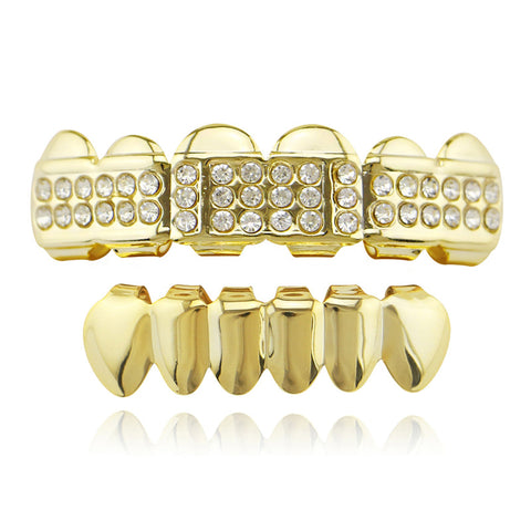 hip hop style iced out rhinestone top teeth grillz jewelry