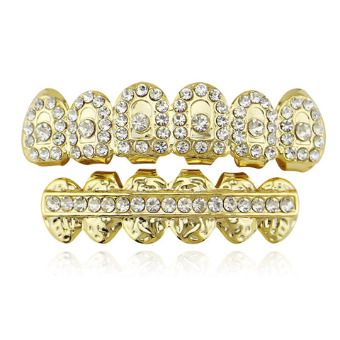 hip hop style iced out rhinestone carved teeth grillz jewelry