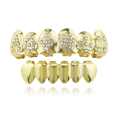 hip hop rhinestone cut poker shape top teeth grillz