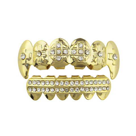 hip hop style cross carved iced out rhinestone teeth grillz