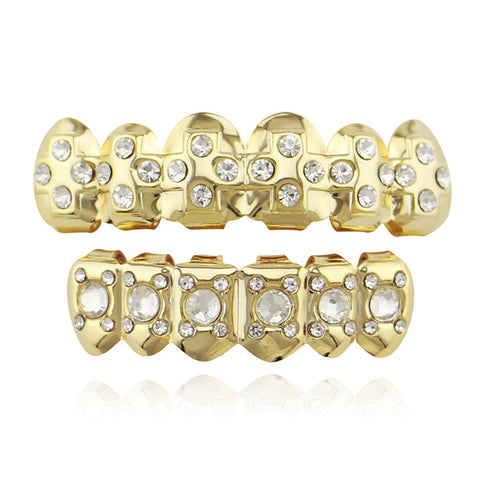 hip hop style iced out rhinestone gold teeth grillz jewelry