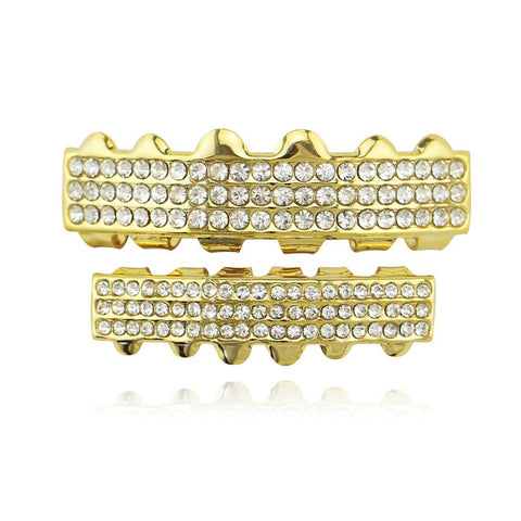 hip hop style 3 Row full iced out rhinestone teeth grillz