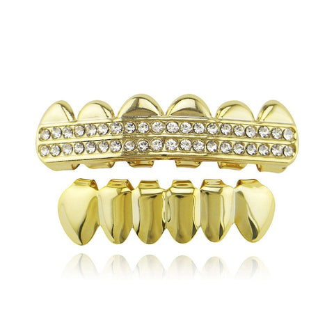 hip hop style 2 row rhinestone top teeth grillz jewelry