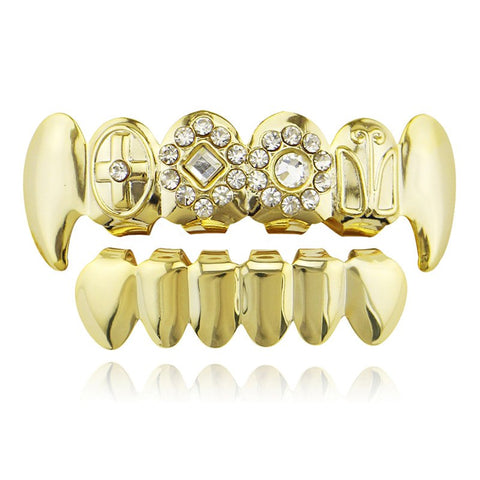 hip hop carved shapes iced out rhinestone teeth grillz jewelry