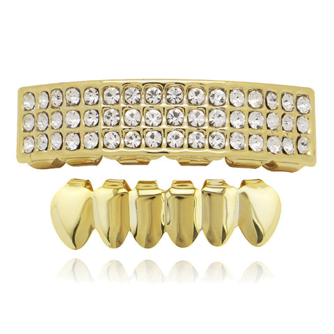 hip hop style 3 rows full rhinestone golden teeth grills for men