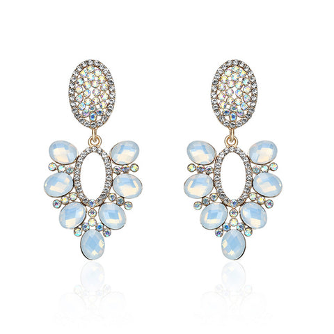 elegant colorful cz crystal drop earrings for women
