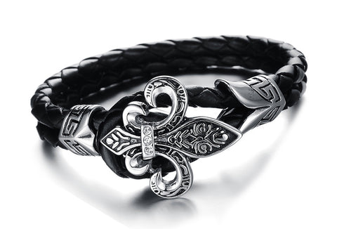 gothic stainless steel braided leather bracelet for men
