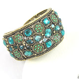 vintage gold crystal rhinestone open cuff bracelet for women