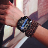 cool big dial black leather quartz wrist watch for men