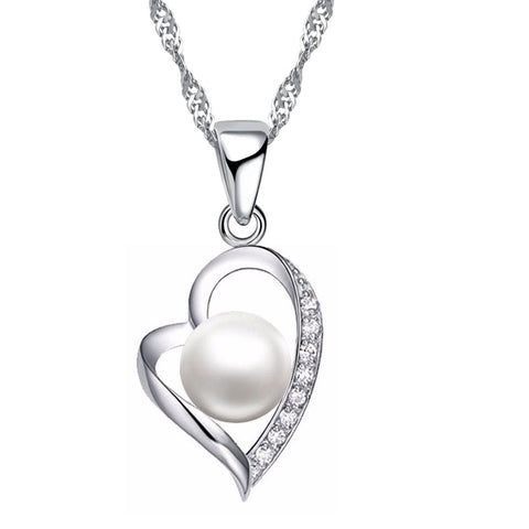 crystal & imitation pearl hollow heart necklace for women