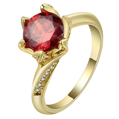 trendy gold color red zircon flower shape ring for women
