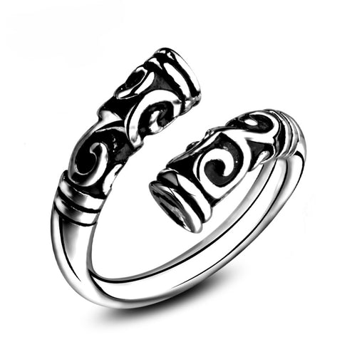 punk style carve flower open ring for women