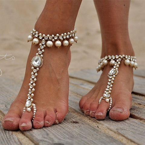 luxury imitated pearl & crystal chain anklet for women