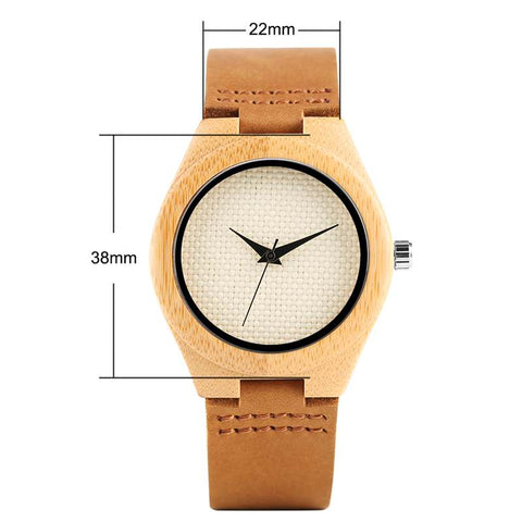 trendy minimal design dial wooden case leather band watch for women