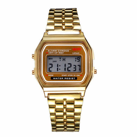 vintage style stainless steel digital led wrist watch