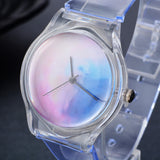 trendy transparent silicone band quartz wrist watch for women