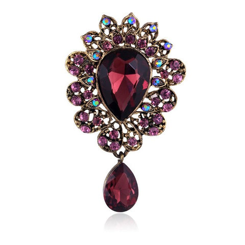 vintage big crystal & glass brooch pin for women