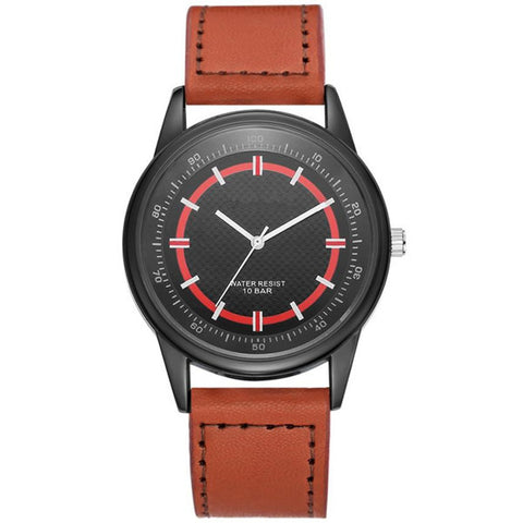 sport style leather strap analog quartz wrist watch for men