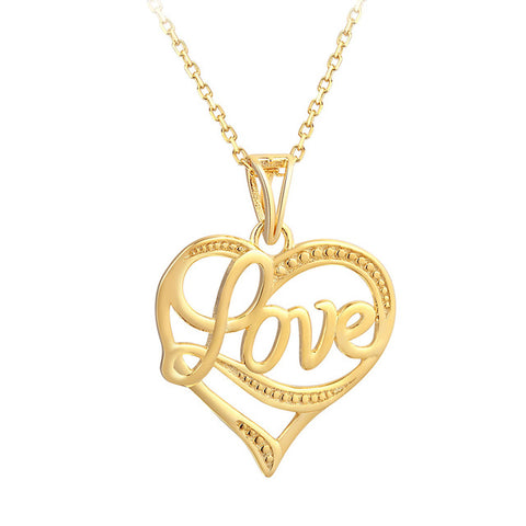 silver & gold color hollow love heart pendant necklace for women