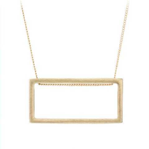 simple brushed square pendant necklace for women