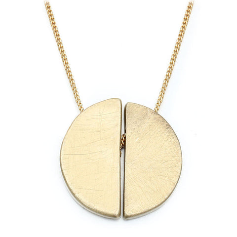 simple brushing wire semi-circle necklace pendant for women