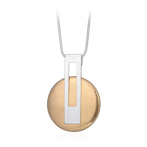 simple gold & silver color round pendant necklace for women