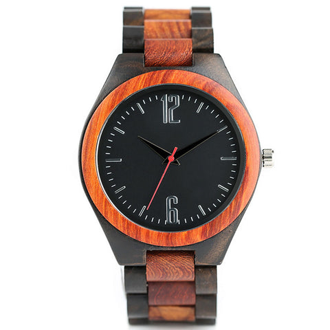 trendy dark bamboo wood analog quartz wrist watch